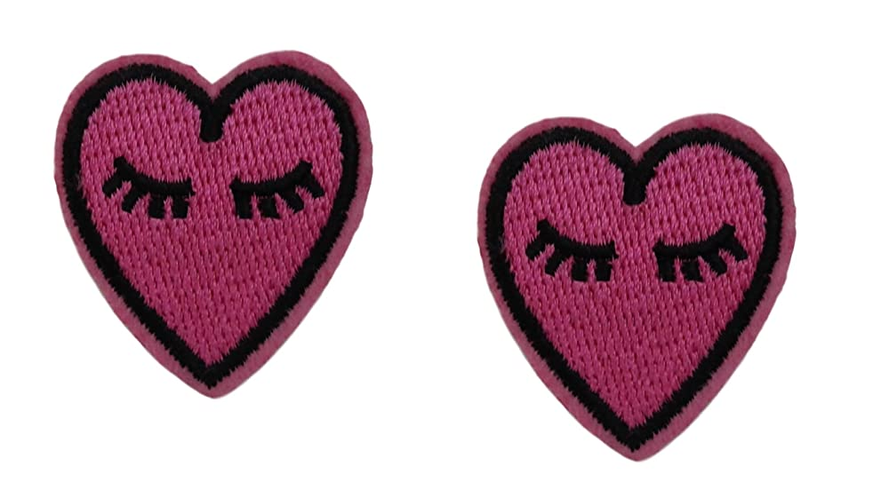 2 small pieces PINK HEART Applique Embroidered Motif Fabric Love Valentine Decal 1.5 x 0.9 inches (3.8 x 2.3 cm)