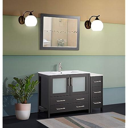 Amazon Com Vanity Art 48 Inch Single Sink Modern Bathroom Vanity Combo Set 1 Shelf 5 Dove Tailed Drawers Ceramic Top Bathroom Cabinet With Free Mirror Va3036 48 E Kitchen Dining