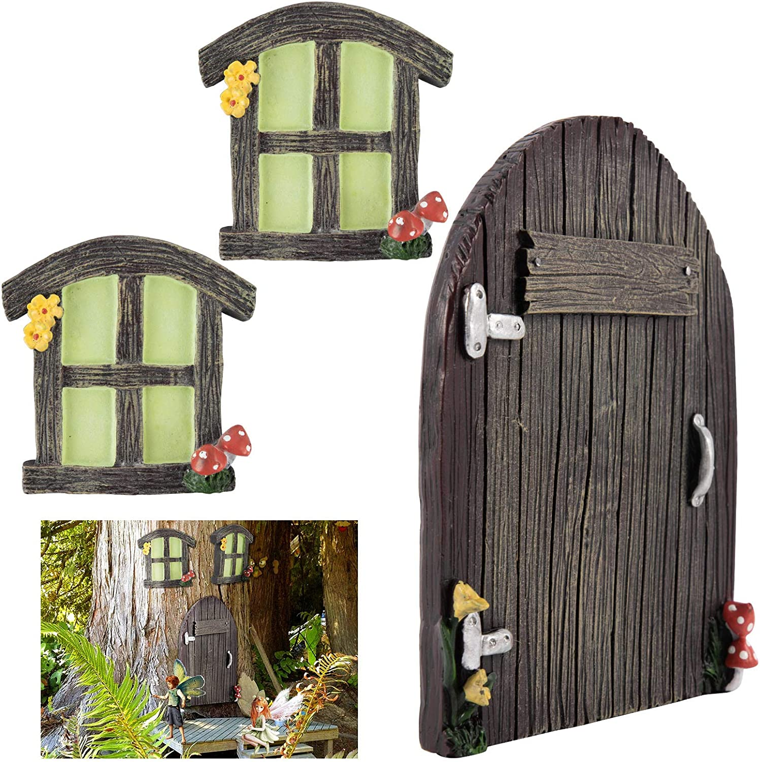 3pcs Baltimore Mall Miniature Fairy Home Windows and in Finally popular brand Glowing Dark Door- The