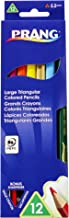 Prang Large Triangular Colored Pencils, 5.5 Millimeter Cores, Includes Sharpener, Assorted Colors, 12 Count (25120)