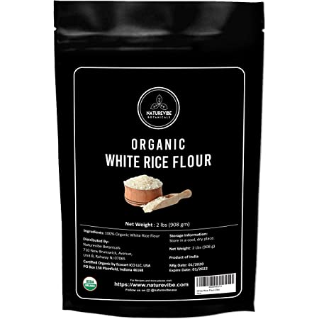 Naturevibe Botanicals White Rice Flour - 2lbs   Non GMO and Gluten Free (32 ounces) [Packaging may vary]