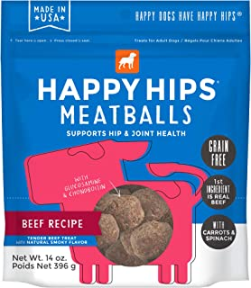 Happy Hips Meatballs, Functional Dog Treats, Supports Hip & Joint Health with Glucosamine & Chondroitin, 14 oz bag