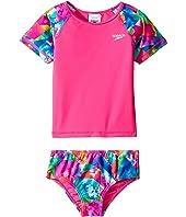 Speedo Kids - Printed Short Sleeve Rashguard Two-Piece Swimsuit Set (Infant/Toddler)