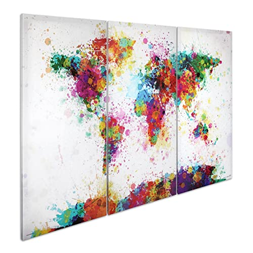 Close Up® XXL Weltkarte Leinwandbild Watercolor Splash - 3-teiliger Leinwanddruck 120x 80cm, Michael Tompsett