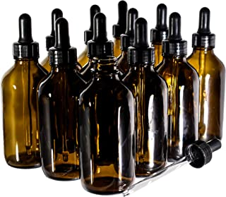 (12 Pack) 4 OZ. Amber Boston Round with Black Glass Dropper