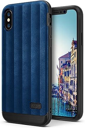 Ringke Flex S Compatible con Funda iPhone X Elegante Duradera Recubierta Texturizada de Cuero TPU Flexible con Protección contra Impactos Avanzada Funda para iPhoneX - Azul Intenso Deep Blue