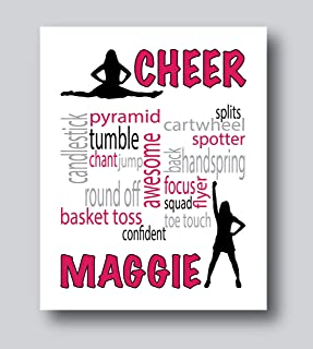 Personalized Cheerleading Gifts For Girls, Cheerleader Gifts For Girls, 8x10 or 11x14 Print Only, Cheer Wall Art