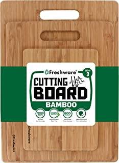 Freshware Cutting Boards [Bamboo, Set of 3] - Eco-Friendly Wood Chopping Boards for Food Prep, Meat, Vegetables, Fruits, Crackers & Cheese - 100% Natural Bamboo