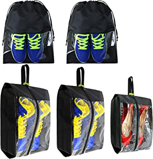 Travel-Accessories-Large-Waterproof-Shoes-Storage-Bag-Clear for Men Women Gym Black 5 Pack