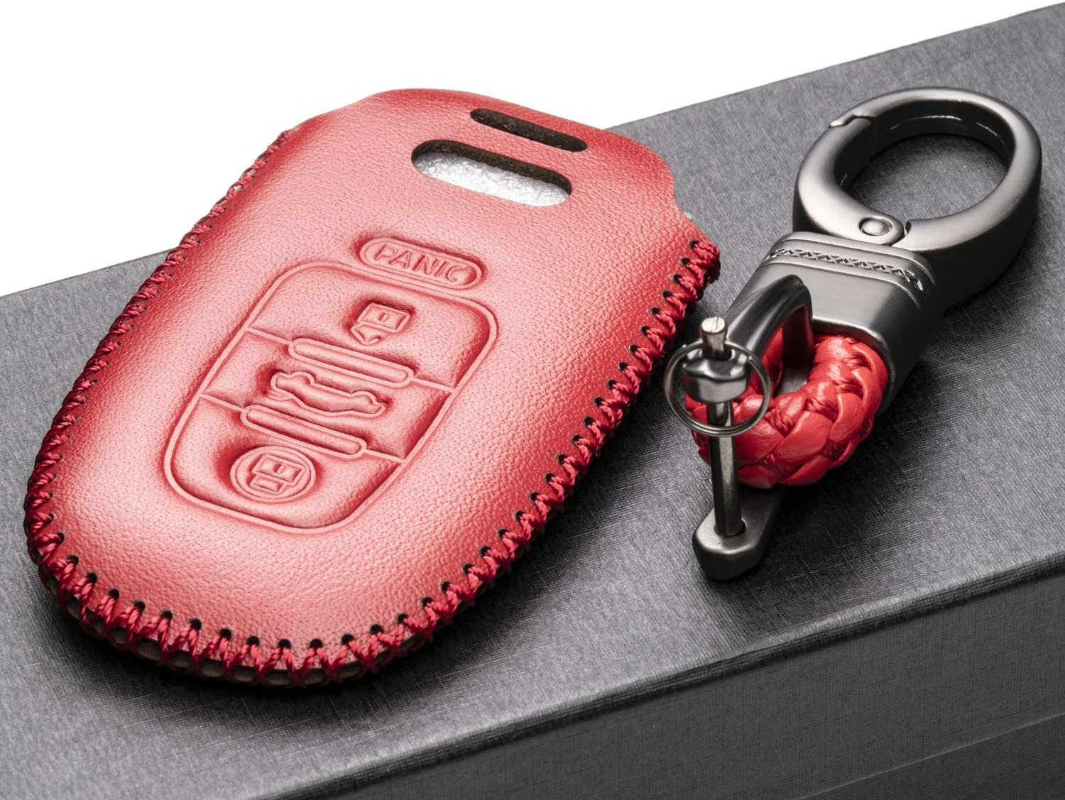 Vitodeco leather Keyless Entry Remote Control Smart Key Case Cover with a Key Chain for Audi A3 A5 A4 A7 RS S5 Q5 S7 A6 4 Buttons, Brown