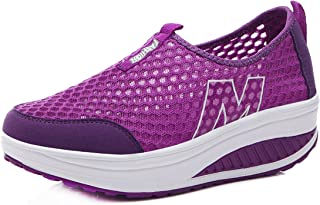 CELANDA Femmes Minceur Chaussures Mode Marche Baskets Wedges Plate-Forme Chaussures Casual Respirantes Sport Gym Fitness S...