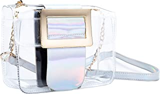 Cute Clear Shoulder Cross-Body Baguette Buckle Flap Bag for Women and Teenage Girls