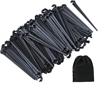 Elcoho 200 Pack Irrigation Drip Support Stakes 1/4 Inch Tubing Hose Holder for Vegetable Gardens or Flower Beds, with Stor...
