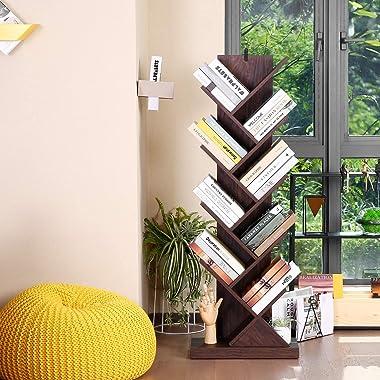 Homdox 9-Tier Tree Bookshelf, Floor Standing Bookcase for CDs/Movies/Books, Bookshelves Storage Rack with Wooden Look Furnitu
