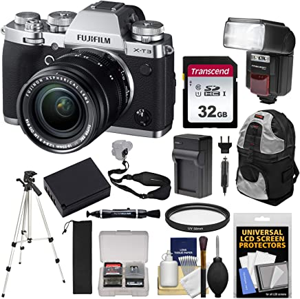 $1899 Get Fujifilm X-T3 4K Wi-Fi Digital Camera & 18-55mm XF Lens (Silver) with 32GB Card + Battery + Charger + Backpack + Flash + Tripod + Kit