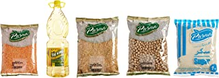 Purna Masoor Dal - 1 kg + White Big Chick Peas 14mm - 1 kg + Toor Dal - 1 kg + Sunflower Oil 1.8 Liters - KING + White Cry...