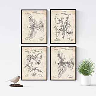 Nacnic Vintage - Pack of 4 Sheets with PATENTS Sailplane. Set Posters with Inventions and Old patents. Choose The Color Yo...