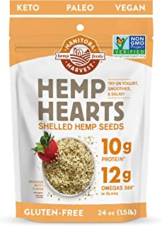 Manitoba Harvest Hemp Hearts Shelled Hemp Seeds, 24oz; 10g Plant-Based Protein & 12g Omegas per Serving, Whole 30 Approved...