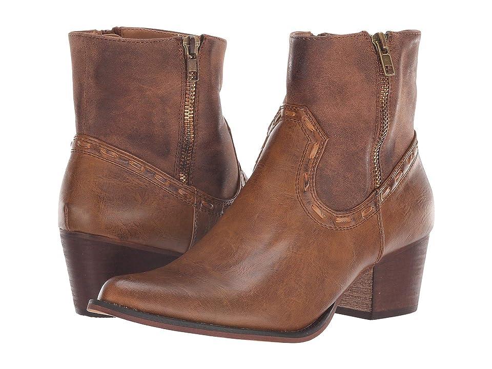 Roper Brie (Burnished Cognac Faux Leather w/ Zipper) Cowboy Boots
