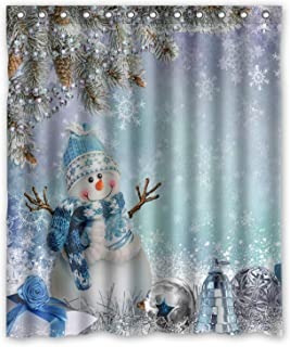 KXMDXA Christmas Xmas Cute Greeting Snowman Pine Branches Winter Landscape Shower Curtain Polyester Fabric Shower Curtain Size 60 X 72 Inch