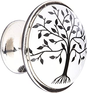 Abbott Collection Small Black and White Tree of Life Knob