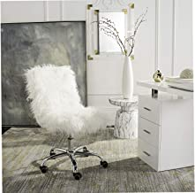 Wood & Style Home Whitney Swivel Office Desk Chair White/Chrome Decor Comfy Living Furniture Deluxe Premium Collection