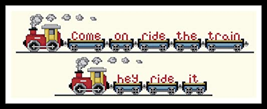 Counted Cross Stitch Pattern. Come on ride the train. hey ride it.