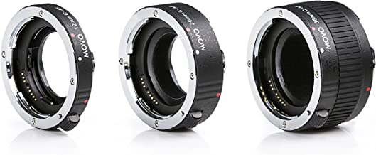 MOVO PRO CHROME 3-Piece AF Macro Extension Tube Set for Canon EOS DSLR Camera 12mm, 20mm, 36mm, Maintains Full Auto Focus Metering and Electronic Pass Thru Contact Easy On Off Auto Focus Lens Extender