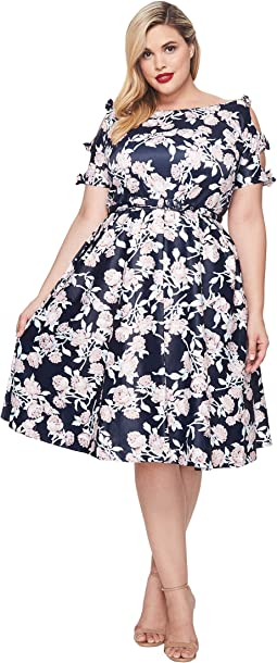 Unique Vintage - Plus Size Bow Dress