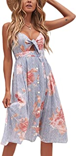 a24990505f ECOWISH Womens Dresses Summer Tie Front V-Neck Spaghetti Strap Button Down  A-Line