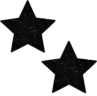 Neva Nude Black Malice Glitter Star Nipztix Pasties Nipple Covers