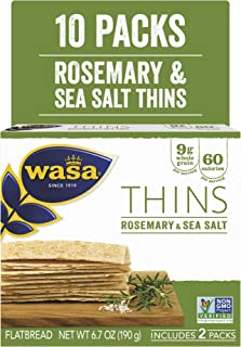 Wasa Flatbread Thins, Rosemary and Sea Salt, 6.7 Ounce (Pack of 10)