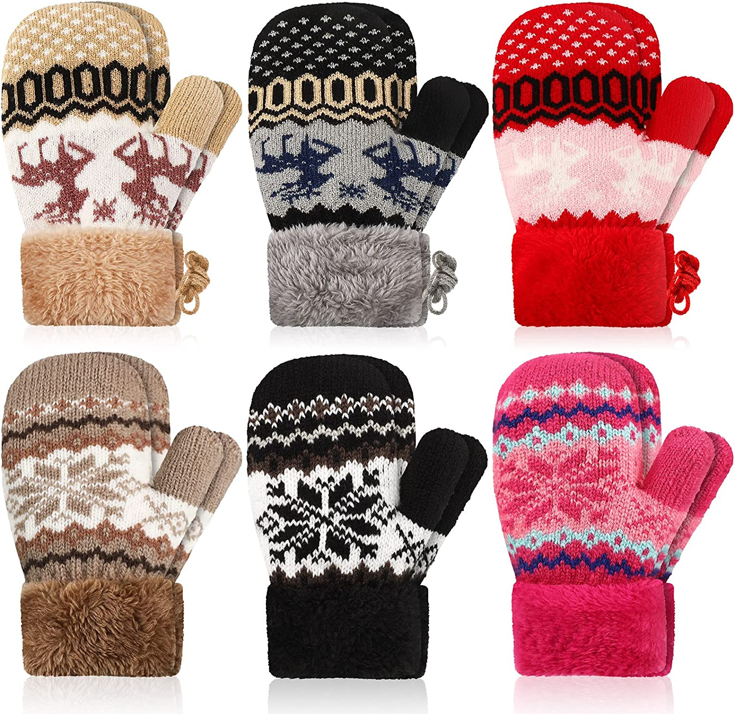 6 Pairs Toddler Warm Winter Mittens Unisex Baby Mitten Fleece Lining Knit Gloves with Rope Snowflake Deer Thick Thermal Gloves for Baby Boys Girls