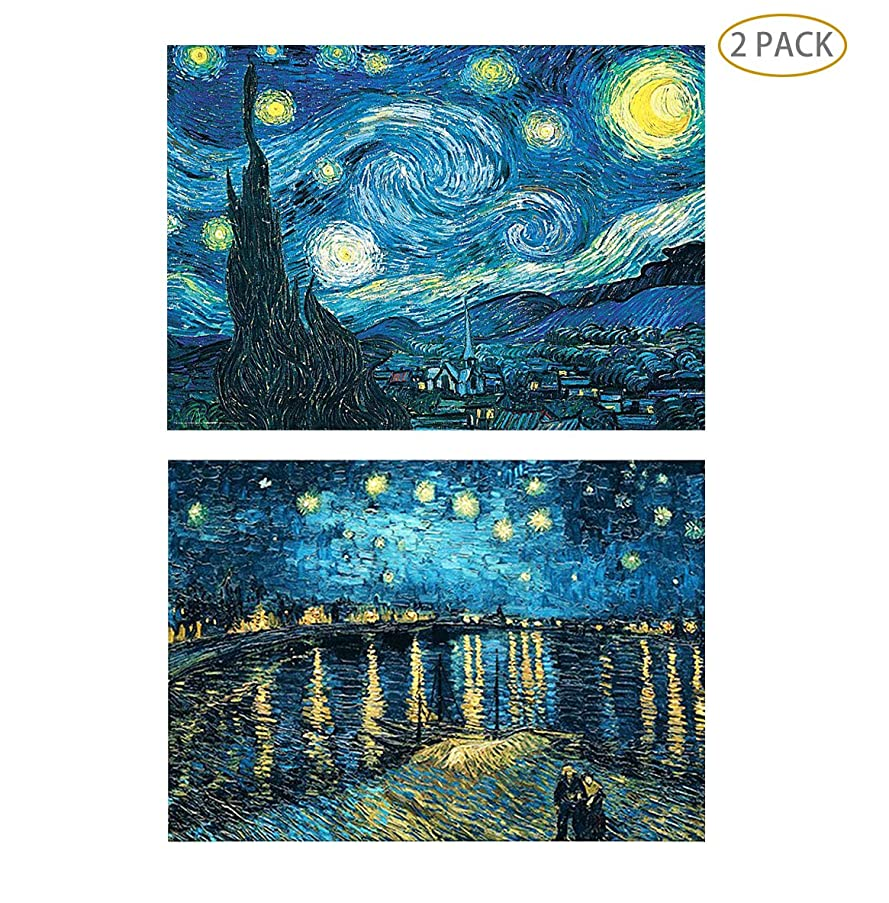 5D Full Drill Diamond Painting Kit,Hartop DIY Diamond Rhinestone Painting Kits for Adults and Beginner,Embroidery Arts Craft Home Office Decor 20 X 16 Inch(2 Pack of Starry Nights)
