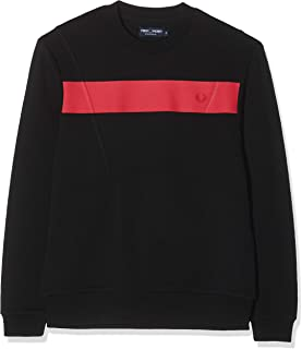 Fred Perry Men's Printed Chest Panel Sweat Sweatshirt, Black, Small