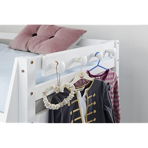 Noa and Nani - Coat Hook and Peg Rail for Midsleeper Cabin Bed or Bunk Bed - (White)
