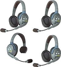 $795 » Eartec UL413 UltraLITE Full Duplex Wireless Headset Communication for 4 Users - 1 Single Ear and 3 Dual Ear Headsets