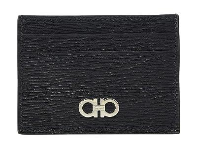 Salvatore Ferragamo Revival Gancio Card Holder 66A387 (Black/Red) Credit card Wallet
