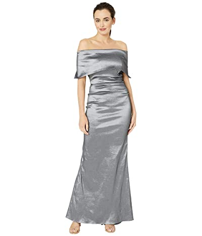 Vince Camuto Off-the-Shoulder Gown w/ Oversized Collar and Side Tucks (Gunmetal) Women