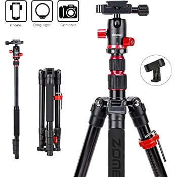 Goodvon SLR Tripod Lightweight and Compact Aluminum Camera Tripod with 360 Panorama Ball Head Quick Release Plate for Travel and Work Portable Black