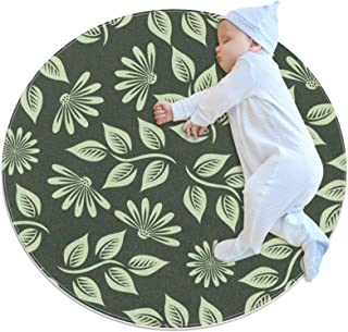 Grönt blad, rund matta för barn polyester överkast matta mjuk pedagogisk tvättbar matta barnkammare tipi tält lekmatta