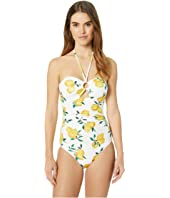 Kate Spade New York - Lemon Beach Bandeau Halter One-Piece Swimsuit w/ Ring Detail & Removable Soft Cups