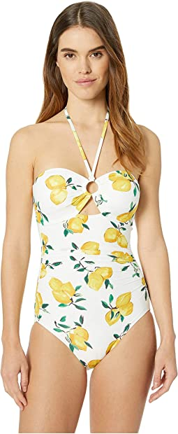 Lemon Beach Bandeau Halter One-Piece Swimsuit w/ Ring Detail & Removable Soft Cups