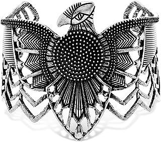 سوار بانجل عريض للنساء مصنوع من خليط معدني على شكل طائر من ستيف مادن، 4.09 انش - SMG80736BS، اسود