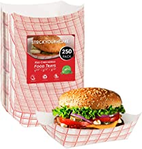 Paper Food Boats (250 Pack) Disposable Red and White Checkered Paper Food Trays 3 Lb - Eco Friendly Red Paper Food Trays 5.75