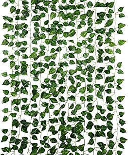 Dedoot Ivy Garland, Pack of 12 Ivy Greenery Garland Fake Ivy Artificial Leaves Bulk Hanging Plant for Craft Wedding Party ...