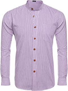 COOFANDY Men's Slim Fit Banded Collar Dress Shirt Casual Long Sleeve Striped Button Down Shirt