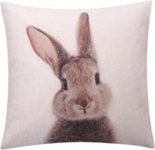 BreezyLife Easter Rabbit Throw Pillow Cover Printed Rabbit Decorative Pillow Case Square Linen Cushion Cover for Sofa Couch Outdoor Home Decor Housewarming Gift 18x18 Inches