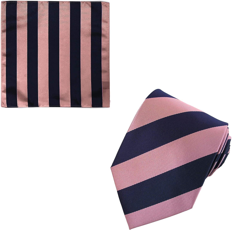 2 Piece Set: Jacob Alexander Men's 1-Inch Stripes School College Regular Neck Tie and Pocket Square
