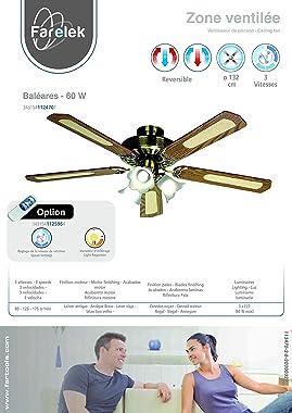 Farelek Baleares Ventilateur de plafond 132 cm